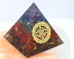 6 cm Seven Chakra Gemstone Pyramid AHA 114