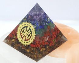 6 cm Seven Chakra Gemstone Pyramid AHA 116