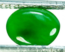 ~UNTREATED~ 1.08 Cts Natural Jade Cabochon Vivid Green Burmese