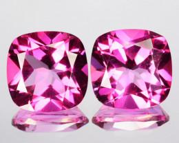 6.55 Cts Candy Pink Natural Topaz 9mm Cushion Cut 2 Pcs Brazil