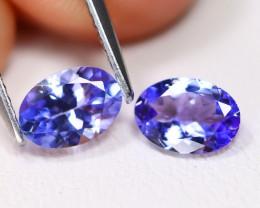 Tanzanite 1.36Ct 2Pcs VS Oval Cut Natural Purplish Blue Tanzanite B246
