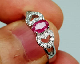 14Crt Ruby 925 Silver Ring 7.5 Natural Gemstones JI133