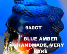 940CT - BLUE AMBER CARVING - SKULL- Flawless handcraft