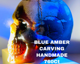 760CT- BLUE AMBER CARVING -SKULL- Flawless handcraft