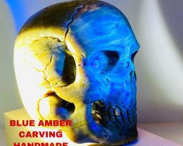 615CT- BLUE AMBER CARVING -SKULL- Flawless handcraft