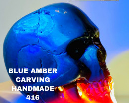 416CT- BLUE AMBER CARVING -SKULL- Flawless handcraft