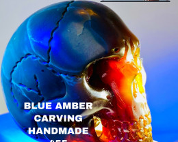 455 CT BLUE AMBER CARVING -SKULL- Flawless handcraft