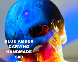 540 CT BLUE AMBER CARVING -SKULL- Flawless handcraft