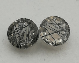 Rutilated quartz pair, 3.155ct, round shaped would look awesome in earrings