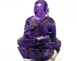 Genuine  931.00 Cts Amethyst  Hand Carved Buddha