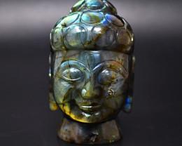 Genuine 1417.00  Cts Amazing Flash Labradorite  Hand Carved Buddha Head