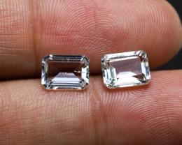 3.58tcw Natural Aquamarine/Goshenite Earring set