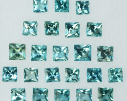 ~Square~ 4.94 Cts Natural Nice 4mm Blue Aquamarine 23 Pcs Brazil
