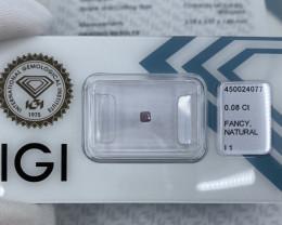 Untreated Fancy DEEP Pink Purple Diamond IGI CERTIFIED Sealed Cushion Cut