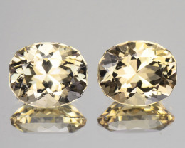 Matching Pair! Custom cut 2.82 Cts Natural Peach Yellow Morganite 8 X 6mm C