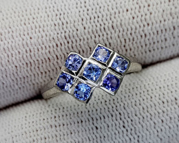 9CT TANZANITE  925 SILVER RING 7.5 BEST QUALITY GEMSTONE IIGC33