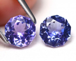 Tanzanite 1.36Ct 2Pcs VVS Master Cut Natural Purplish Blue Tanzanite A1603