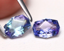 Tanzanite 1.06Ct 2Pcs VVS Master Cut Natural Purplish Blue Tanzanite A1612