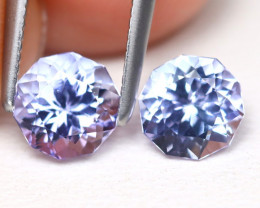 Tanzanite 1.56Ct 2Pcs VVS Master Cut Natural Purplish Blue Tanzanite A1618