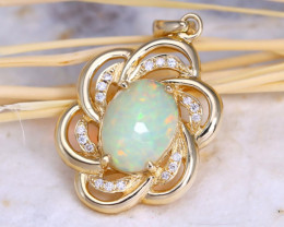Welo Opal 1.10Ct Pendant 10K Gold VS Diamond A1710