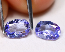 Tanzanite 1.04Ct 2Pcs VVS Master Cut Natural Purplish Blue Tanzanite A1718