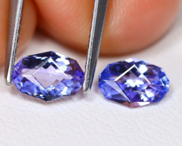 Tanzanite 1.08Ct 2Pcs VVS Master Cut Natural Purplish Blue Tanzanite A1719