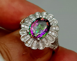 25Crt Mystic Quartz 925 Silver Ring 6.5 Natural Gemstones JI134
