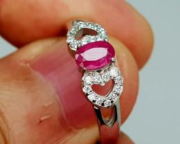14Crt Ruby 925 Silver Ring 7 Natural Gemstones JI134