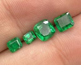 2.16 Cts Afghanistan Panjshir AAA Grade Vivid Green Natural Emerald 4 Pcs