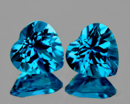 7.00 mm Heart 2 pcs 3.09cts London Blue Topaz [VVS]
