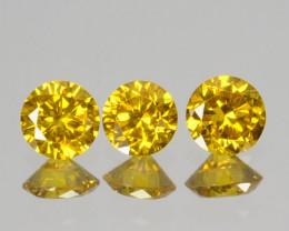 ~SET~ 0.21Cts Natural Sparkling Yellow Diamond 3Pcs Round 2.50mm  Africa