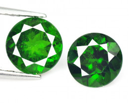 Chrome Diopside 2.80 Cts 2 Pcs Natural Green Color Loose Gemstone