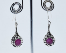 RUBY EARRINGS 925 STERLING SILVER NATURAL GEMSTONE E61