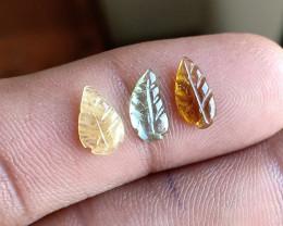 Natural Tourmaline Carved Leaves Genuine Gemstone VA3862