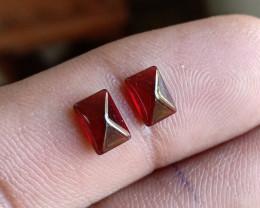 Natural Garnet Cabochon Caliberated Pair Genuine Gemstones VA3884