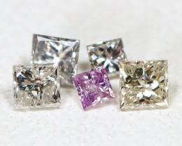 Diamond 0.11Ct Princess Natural Genuine Fancy Color Diamond Lot B665