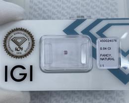 Untreated Fancy Pink Purple Diamond IGI CERTIFIED Sealed Cushion Cut Loose