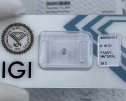 Untreated Fancy Pink Diamond 0.10ct IGI CERTIFIED SI2 Pear Teardrop Cut Bli