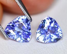 Tanzanite 1.46Ct 2Pcs VVS Master Cut Natural Purplish Blue Tanzanite B1812