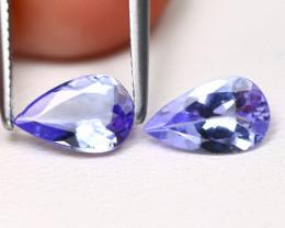 Tanzanite 1.22Ct 2Pcs VS Pear Cut Natural Purplish Blue Tanzanite B1803