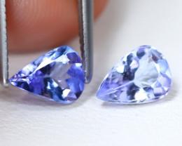 Tanzanite 1.50Ct 2Pcs VS Pear Cut Natural Purplish Blue Tanzanite B1818