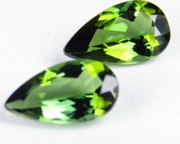 1.63Cts  Elegant Natural Green Tourmaline Pear Shape Matching Pair