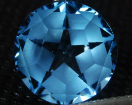 8.25Cts Sparkling Natural  Swiss Blue Topaz Round precision Cut REF VIDEO