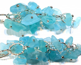47.70 CTS APATITE EARRINGS NEON BLUE UNTREATED LT-1030