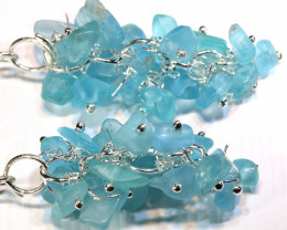 47.70 CTS APATITE EARRINGS NEON BLUE UNTREATED LT-1031