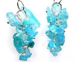 47.70 CTS APATITE EARRINGS NEON BLUE UNTREATED LT-1039