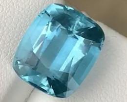 Gorgeous Blue 8.09ct Santa Maria Natural Aquamarine (Cushion cut)