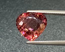 8.12Ct Rubellite Tourmaline Heart Unheated 13mm