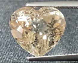 8.57ct VS Yellow Tourmaline Heart Unheated 13.3 x 11.8mm
