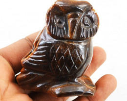 Genuine 640.00 Cts Tiger Eye Hand Carved Owl